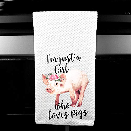 Rustic Pig - I'm Just a Girl who Loves Pigs Rustic Farm Microfiber Kitchen Bar Towel, Funny Gift for Women