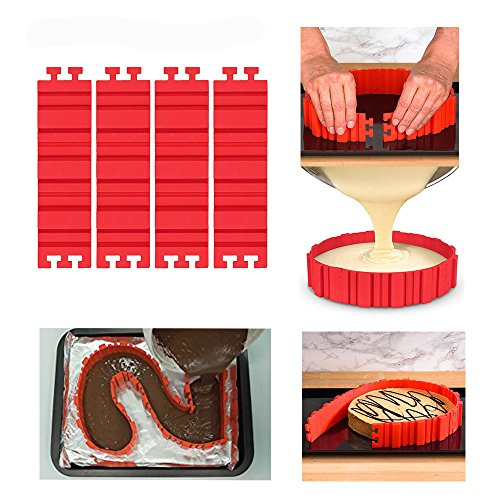 4 PCS Magic Bake Cake Snake Gifts for Kids and Adults - Flexible Silicone DIY Cake Molds - Easy To Use & Wash - Reusable + A Strawberry Scrubber (1)
