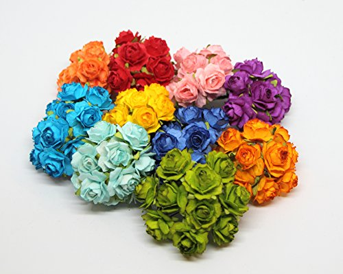 ScrapFlowers Tea Paper Rose Flowers for Scrapbooking in Mixed Colors, Wedding and Baby Shower Decorations, Favours DIY (Bright Colors. 2 cm Diameter)