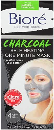 Biore Self Heating One Minute Mask, 4 Count
