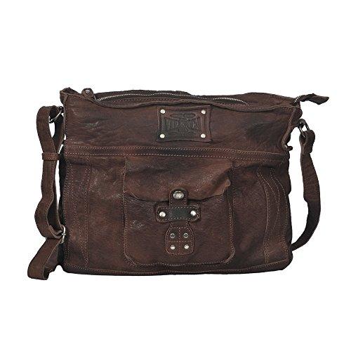 """Vilenca """"40707 Marrone"""" messenger bag in pelle con tracolla regolabile colore naturale, Dimensioni-(L32cmxH23cmxB6cm).."""
