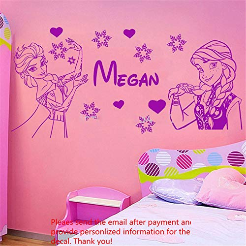 Soesa Wall Decal Sticker Art Mural Home Decor Quote Custom Made Personalised Princess Famous Cartoon Figure with Name Poster