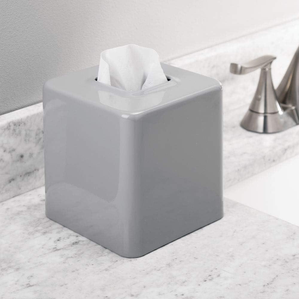 Pr/áctico dispensador de pa/ñuelos para el ba/ño o la oficina gris mDesign Juego de 2 fundas para cajas de pa/ñuelos de metal Modernas cajas para pa/ñuelos de papel ideales como fundas