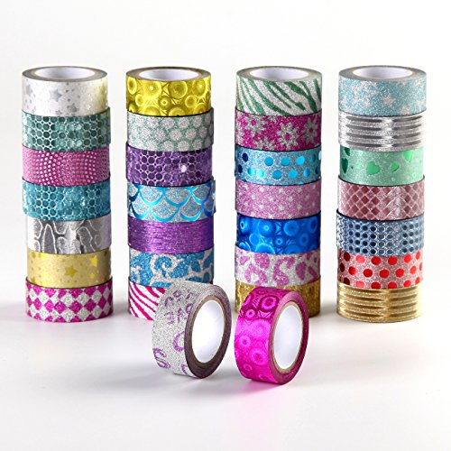 Washi Tape Set of 30 Rolls, Decorative Glitter craft Tape for DIY...