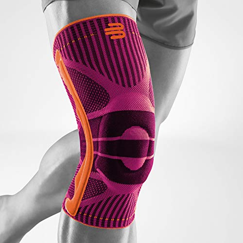 Bauerfeind Sports Knee Support - Knee Brace for Athletes with Medical Grade Compression - Stabilization and Patellar Knee Pad (Pink, L)