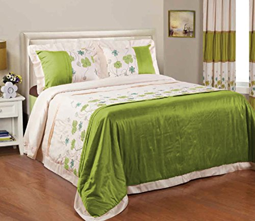 Bednlinens 5 Piece Shara Beautiful Embroidered Floral Light Weight Green Color Comforter/Bedspread With Matching Drapes Queen size (Shara-5PC) (Lightweight Drapes)