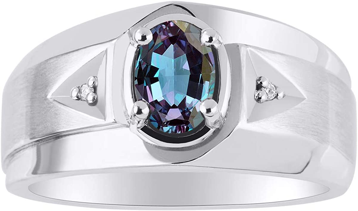 7X5MM Color Stone RYLOS Mens Ring with Oval Shape Gemstone /& Genuine Sparkling Diamonds in Sterling Silver .925 With Satin Finish