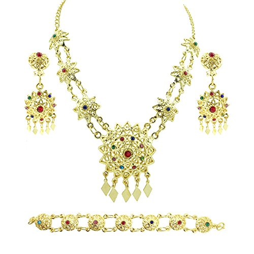 [Siwalai Thai Traditional Gold Plated Multicolor Crystals Necklace Earrings Bracelet Jewelry Set 18] (Thai Dance Costume)