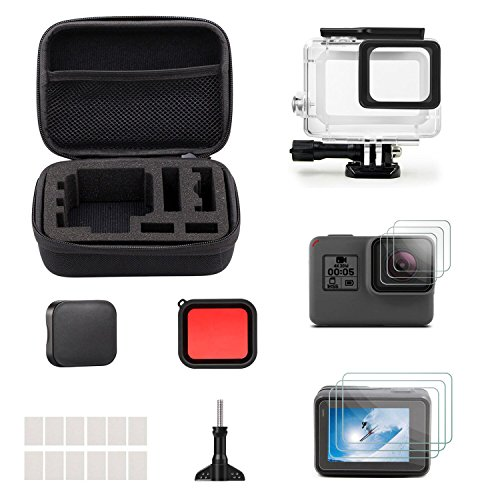 iTrunk 23 in 1 Accessories for GoPro Hero (2018)/6/5, Accessory Bundle with Shockproof Small Case + Screen Protector + Housing Case + Lens Cover + Red Filter for Go Pro Hero6 Hero5 Action Camera
