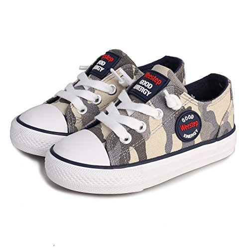 Weestep Toddler/Little Kid Boys and Girls Slip On Canvas Sneakers (2 M US Little Kid, Camouflage Grey)