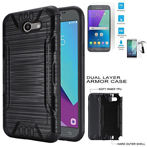 Phone Case for Straight Talk Samsung Galaxy J3-Luna-Pro / J3-Emerge / Galaxy-Express-Prime-2 4G LTE Tempered Glass with Dual-Layered Cover (Combat Brush Black-Black TPU-Tempered Glass)