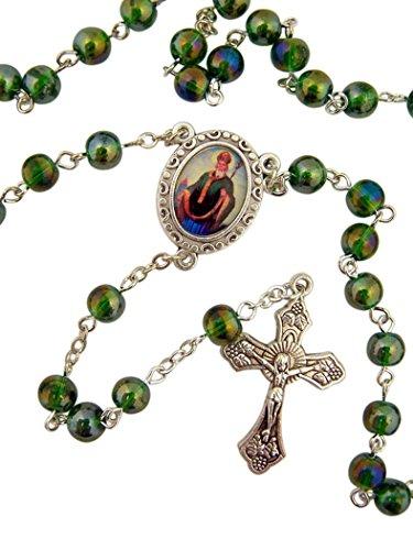 Acrylic Prayer Bead Rosary with Catholic Saint Medal Centerpiece, 17 Inch (Saint ()