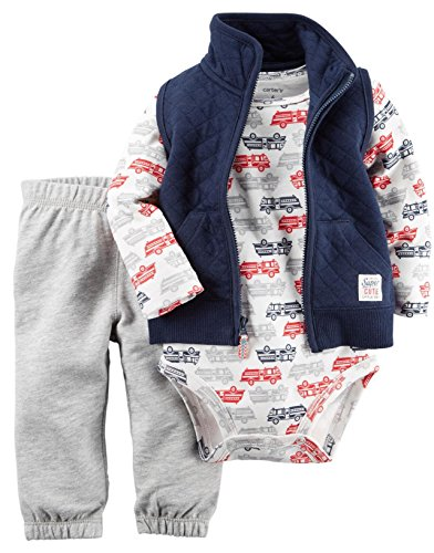 Carter's Baby Boys' Vest Sets, Firetrucks, 12 Months