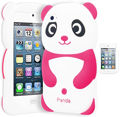 astex 3D Silicone Hot Pink & White Panda Bear Case for Apple iPod Touch 4INCLUDES SCREEN PROTECTOR ()
