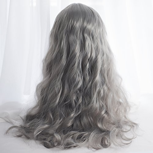 Long Wavy Grey Wig Bangs - Natural Gray Wigs for Women and Girls Cosplay Costume, Lolita Style Synthetic Hair with Wig Cap by Alice Garden Wigs (Image #3)