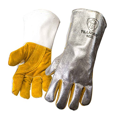 John Tillman and Co 822L Leather and Aluminized Kevlar Wool Lined Aluminized Welding Glove with Gauntlet Cuff, Large, Silver/Brown
