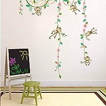 "BIBITIME 5 Monkeys Hanging Playing on Tree Branch Green Vines with Flowers Wall Decal Nursery Jungle Animal Vinyl Sticker for Children Bedroom Kids Room Decor DIY 36"" x 38"""