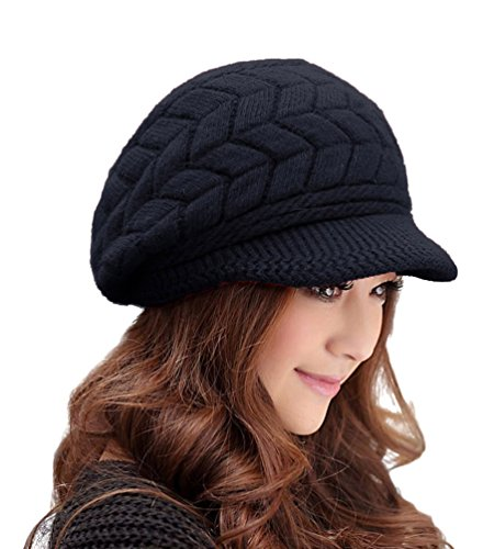 Women Fashion Hats HINDAWI Crochet Wool Knit Winter Warm Snow Cap with Visor Black