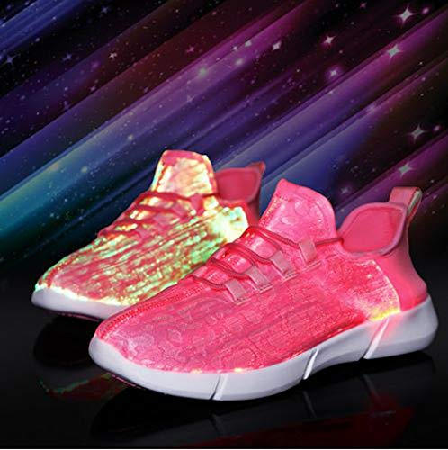 ℱLOVESOOℱ Couple Lace-Up Sneakers with Led Light Unisex Colorful Flash Casual Shoes Quick-Drying Breathable Runing Shoes Pink by ℱLOVESOOℱ (Image #1)