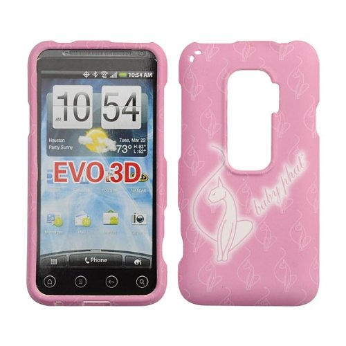 HTC EVO 3D Case Baby Phat Brand Cover Snap On Faceplate Shield Cell-Tronics BABY PHAT PINK CAT (Htc Evo 3d Boost Mobile)