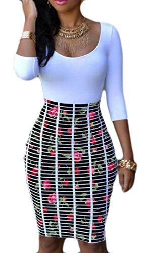 Club 3 Womens 2 Cut Big Print Dresses Waist 4 Bodycon High Sleeve Low Tang qpwC1