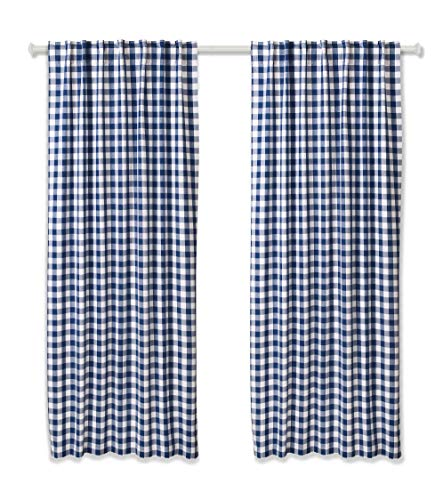 (Cotton Clinic Gingham Buffalo Check Window Curtains 2 Panels 50x84, Curtains for Living Room, Curtains for Bedroom, Curtains 84 Inch Length, 2 Pack Set Cotton Tab Top Curtains Navy White  )