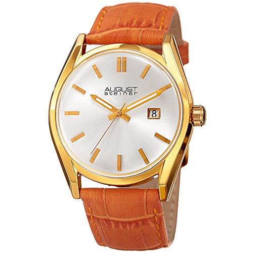 Strap Orange Alligator (August Steiner Women's Gold-Tone Case with White Dial and Alligator Embossed Genuine Leather Orange Strap Watch AS8221OR)