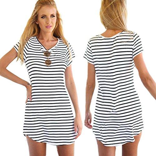 Oyedens Femmes Manches Courtes Rayé Loose T-Shirt Mini Robe
