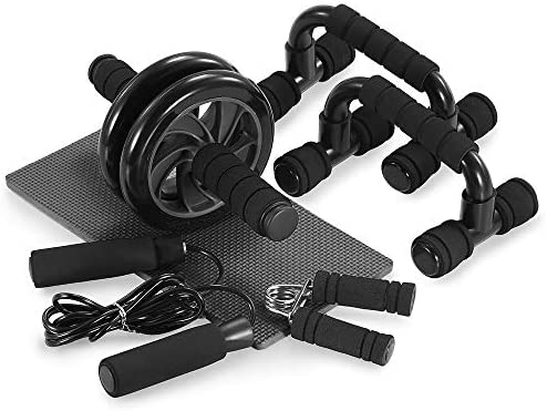 TOMSHOO 5-in-1 AB Wheel Roller Kit with Push-Up Bar Jump Rope Hand Gripper and Knee Pad for Gym Home Workout