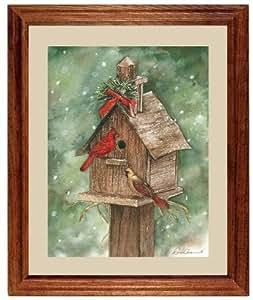 Cardinal bird house christmas gift framed art for Christmas wall art amazon