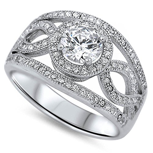Micro Pave & Round Halo Style Cubic Zirconia .925 Sterling Silver Ring Size 9 (Pave Micro Ring Round)