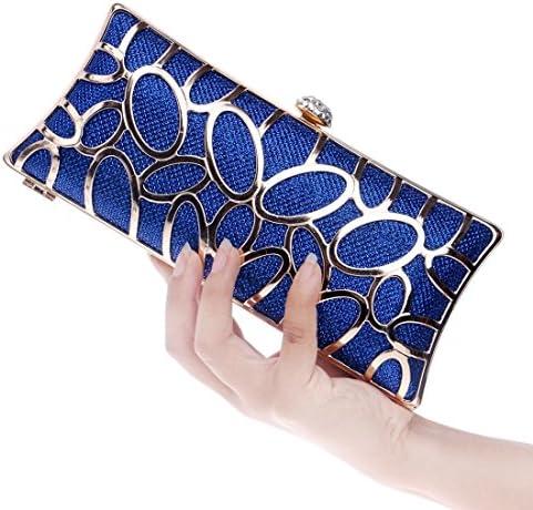 WAYNEYOROSH 女性のイブニングドレスクラッチバッグメタルハンドバッグパーティーバッグ (Color : Blue)