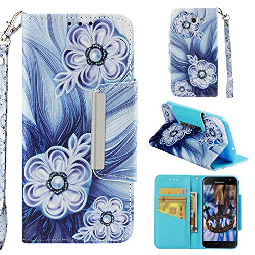 Case for Galaxy J3 2017/J3 Prime/J3 Emerge/J327,Pu Leather Wallet Case Inner TPU Bumper with Magnetic Closure & Wrist Strap Compatible with Samsung Galaxy J3 2017/J3 Prime/J3 Emerge/J327 -Bead Flower (Slime Cell Phone Strap)