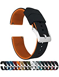 Barton Elite Silicone Watch Bands - Quick Release - Choose Strap Color & Width - Black/Pumpkin Orange 22mm