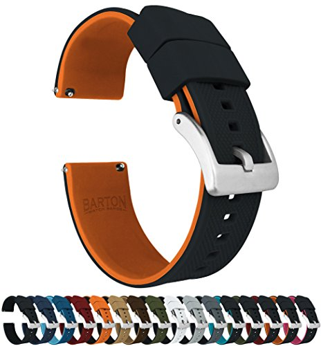 - Barton Elite Silicone Watch Bands - Quick Release - Choose Strap Color & Width - Black/Pumpkin Orange 22mm