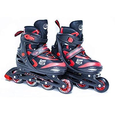 California Skate Co Zuma Kids Adjustable Inline Skates (Black and red, J10-J13) : Sports & Outdoors