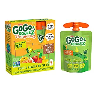 GoGo squeeZ Fruit & VeggieZ on the Go, Apple Pear Carrot, 3.2 Ounce (48 Pouches), Gluten Free, Vegan Friendly, Unsweetened, Recloseable, BPA Free Pouches