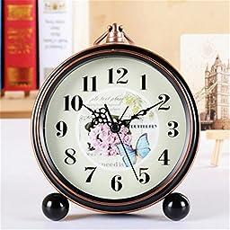 FirstDecor 5 inch European style Silent Quartz Analog Alarm Clocks Desktop Clock Retro Vintage Home Decoration Desk Clock Wall Clock Christmas gift