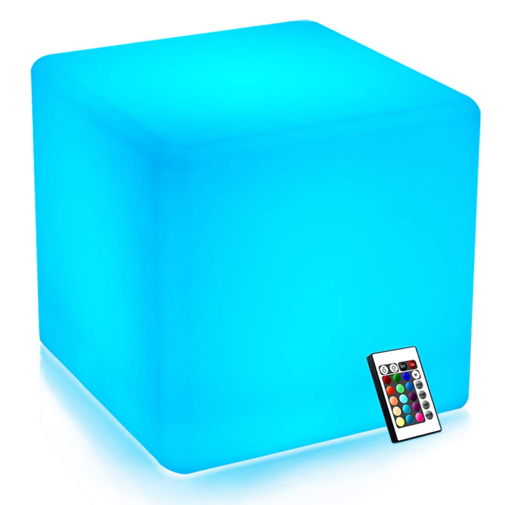 Mr.Go 14-inch 35cm Rechargeable LED Color Cube Light Seat W/Remote Control Magic RGB Color Changing Side Table Stool Home Bedroom Patio Pool Party Mood Lamp Night Light Romantic Decorative Lighting