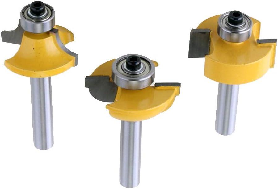 LOVIVER 3pcs//Set Profile Drill Bit+Drill Bit+Rabbet Bit 8mm Shank Router Bit Tools