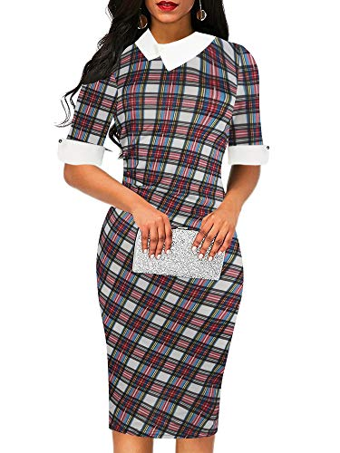 oxiuly Women's Plaid Patchwork Stretchy Slim Bodycon Work Party Pencil Midi Dress OX276 (S, Red Plaid) ()