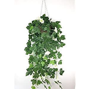 Lopkey Silk Morning glory Artificial Flowers with Hanging Basket Outdoor/indoor Decor 51
