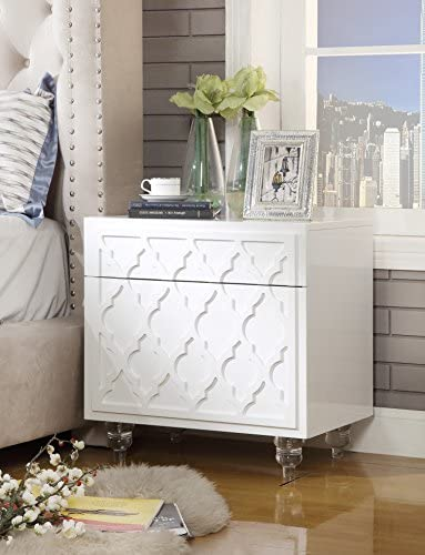 Inspired Home Sienna White Glossy Modern Nightstand – Lucite Acrylic Legs Lacquer Finish Side Table Trellis Design