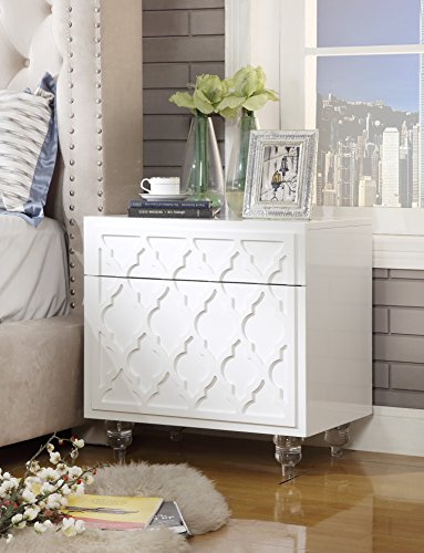 Lacquer White Glossy Finish - Inspired Home Sienna White Glossy Modern Nightstand - Lucite Acrylic Legs | Lacquer Finish | Side Table | Trellis Design