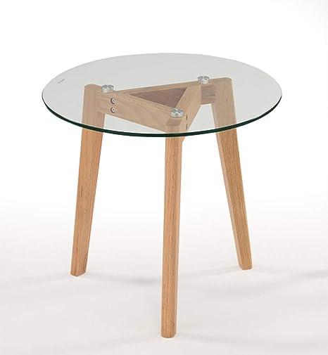 Meubletmoi Table Basse Ronde En Verre Transparent Et Bois