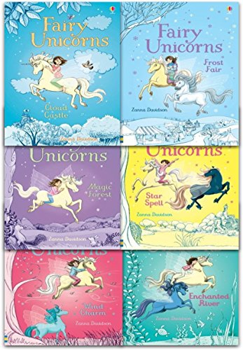 Usborne Fairy Unicorns Collection 6 Books Set by Zanna Davidson (Star Spell, Frost Fair, Enchanted River, Wind Charm, Cloud Castle, Magic Forest)
