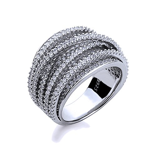 Rhodium Plated Sterling Silver Right Hand Ring Intertwined Design, 15mm Size 5 to 9