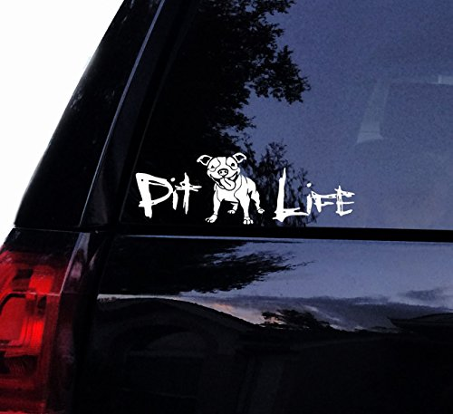 Tshirt Rocket Happy Pit LIFE Floppy Ears Decal - Cute Happy PITBULL Pit Bull Dog Terrier Vinyl Car Decal, Laptop Decal, Car Window Wall Sticker (8