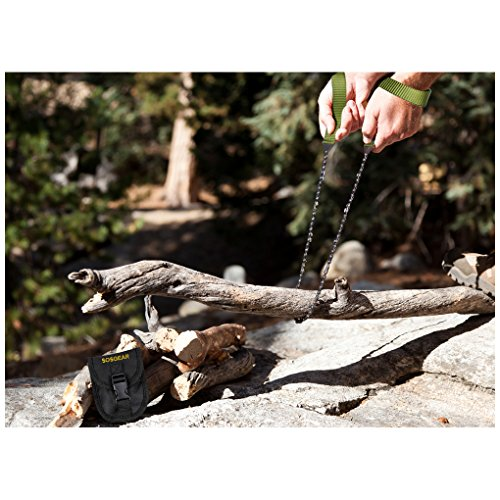 SOS Gear Pocket Chainsaw and Fire Starter - Survival Hand Saw, Firestarter with Built in Compass & Whistle, Embroidered Pouch for Camping & Backpacking - Green Straps, 36'' Chain by SOSGEAR (Image #2)