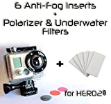 The Accessory Pro® Bundle - 6 Anti-Fog Inserts, Polarizer, Red, Magenta Filters compatible with all GoPro® Hero2 cameras